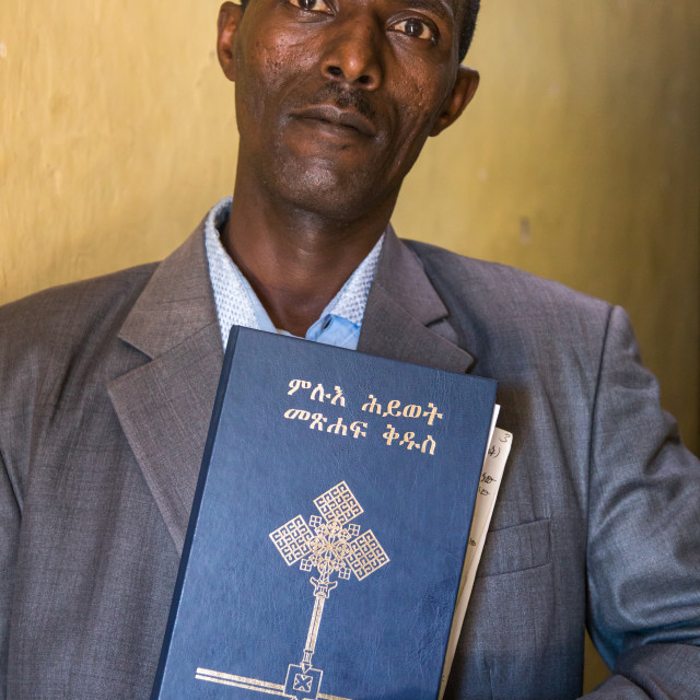 """""""Evangelist pastor Zaid who converted from islam to christianity holding a..."""" stock image"""