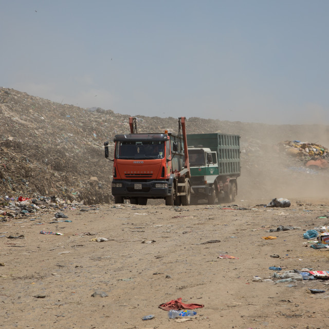 """Trucks in Koshe rubbish dump, Addis Ababa region, Addis Ababa, Ethiopia"" stock image"