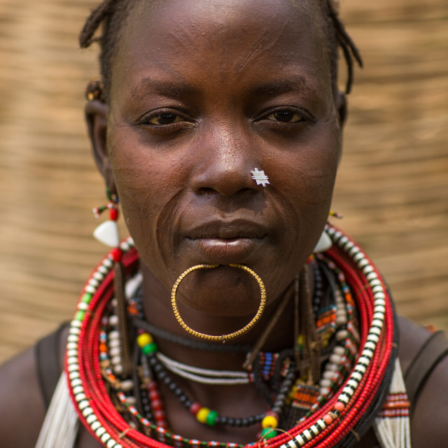 """""""Portrait of a sudanese toposa tribe woman refugee with huge necklaces and..."""" stock image"""