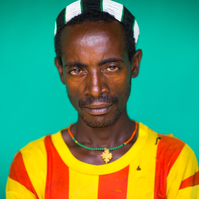 """""""Portrait of a hamer tribe man wearing a barcelona football shirt, Omo valley,..."""" stock image"""