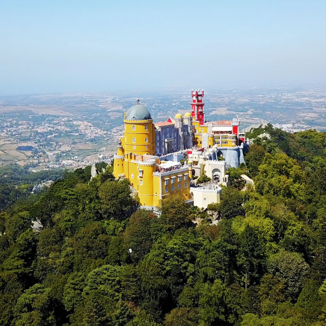 """""""Aerial View Of Pena Palace Built in 1854 In Sintra, Portugal"""" stock image"""