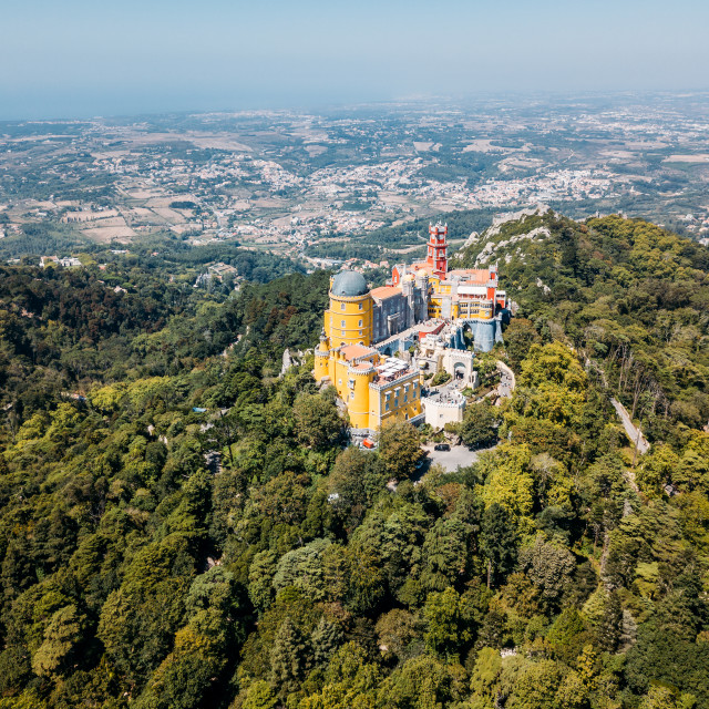 """Aerial View Of Pena Palace Built in 1854 In Sintra, Portugal"" stock image"