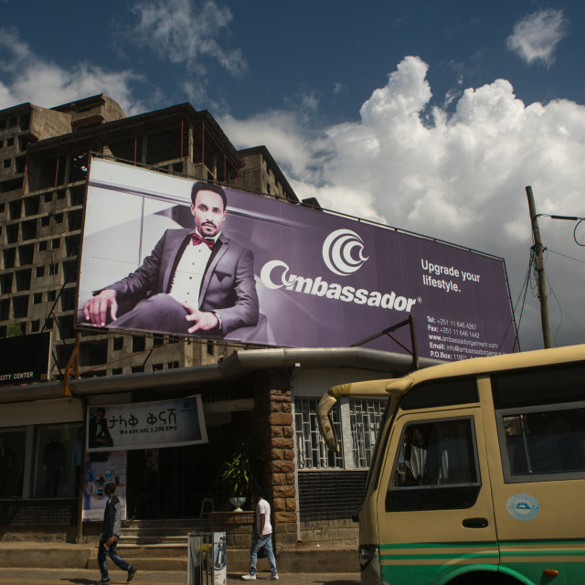 """Giant billboard of ambassador on side of building, Addis abeba region, Addis..."" stock image"