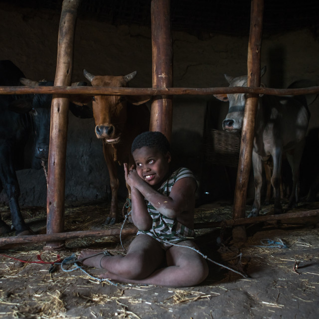 """""""Physically and mentally handicapped child chained to a fence in a house,..."""" stock image"""