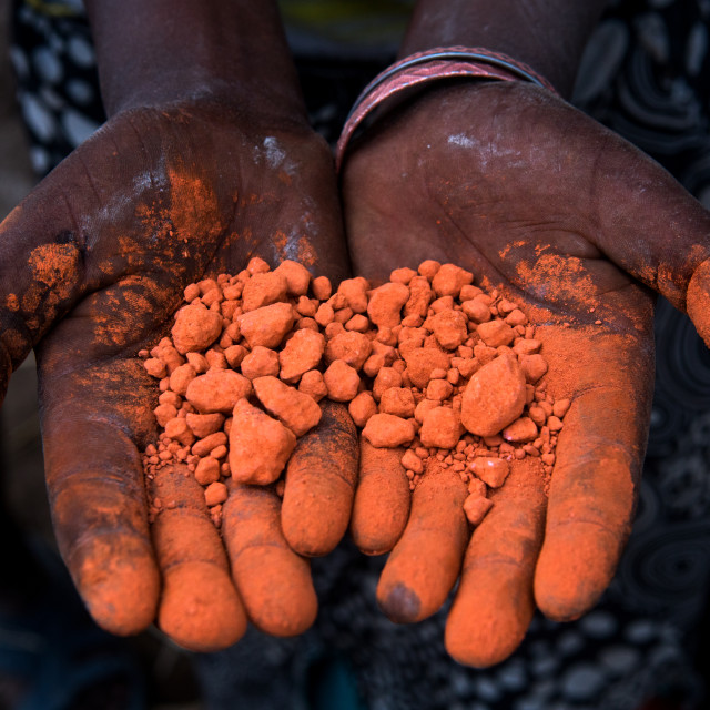 """""""Ethiopia, Kembata, Alaba Kuito, natural ochre pigments used to paint the..."""" stock image"""