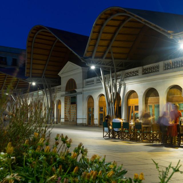 """""""Santa Caterina market in evening. Barcelona"""" stock image"""