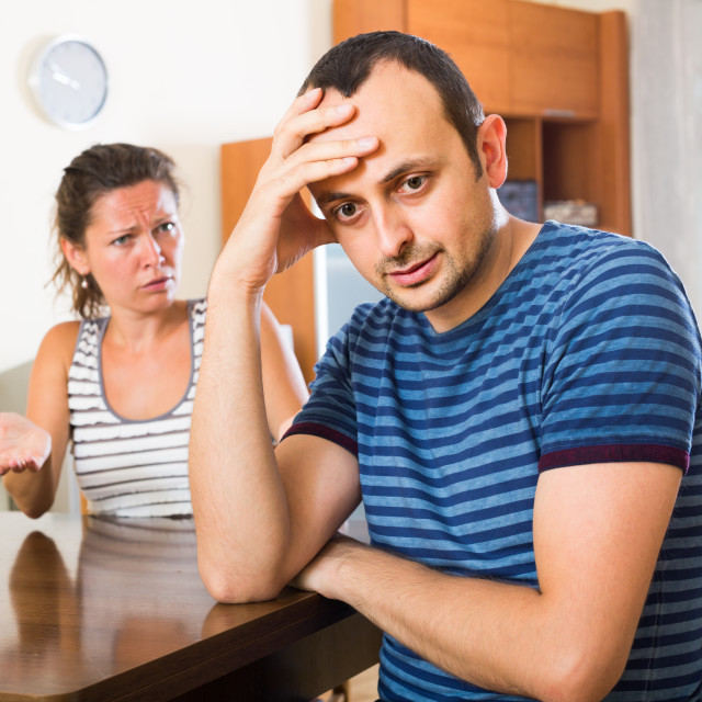 """wife and furious husband discussing divorce"" stock image"