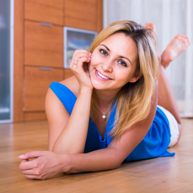 """""""Portrait of girl with charming smile indoors"""" stock image"""