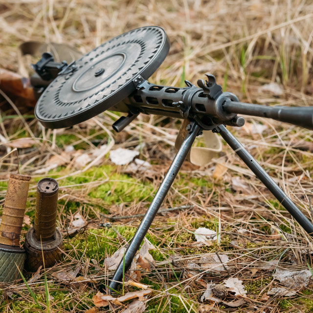 """Soviet russian military ammunition - machine gun of World War II on ground"" stock image"