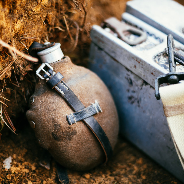 """German military ammunition of World War II on ground."" stock image"