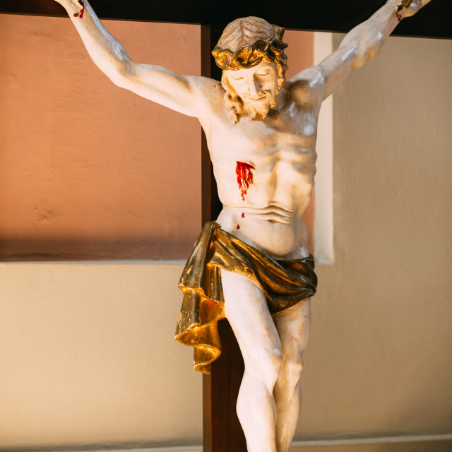 """""""The statue of the crucified Christ on the cross. The Christian cross with Jesus"""" stock image"""