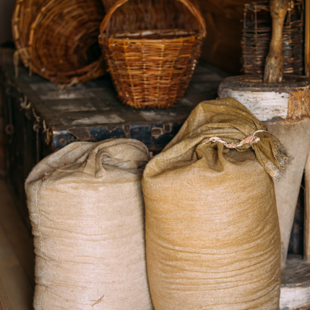 """Elements of life of Russian peasants 16-19 centuries. Sacks of flour, wicker..."" stock image"
