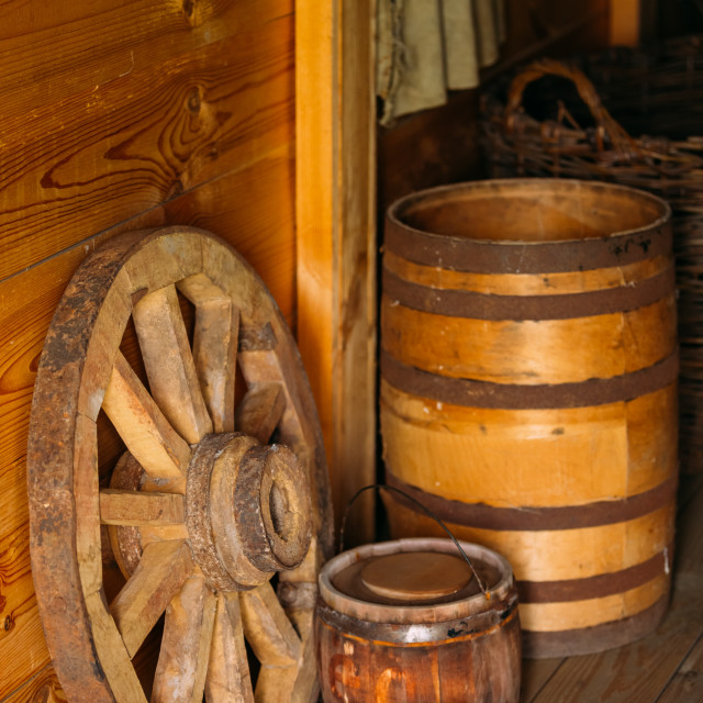 """Elements of life of Russian peasants 16-19 centuries. Wooden wagon wheel,..."" stock image"