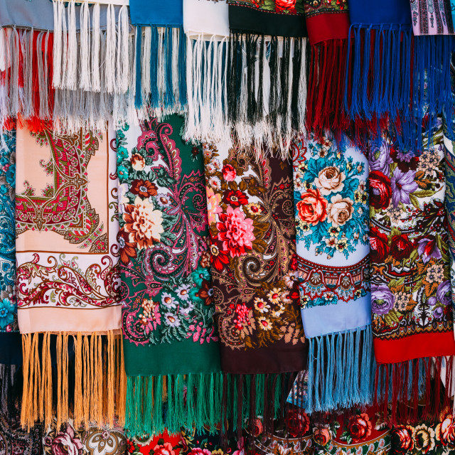 """Rows of Russian colorfull scarfs and headscarfs"" stock image"