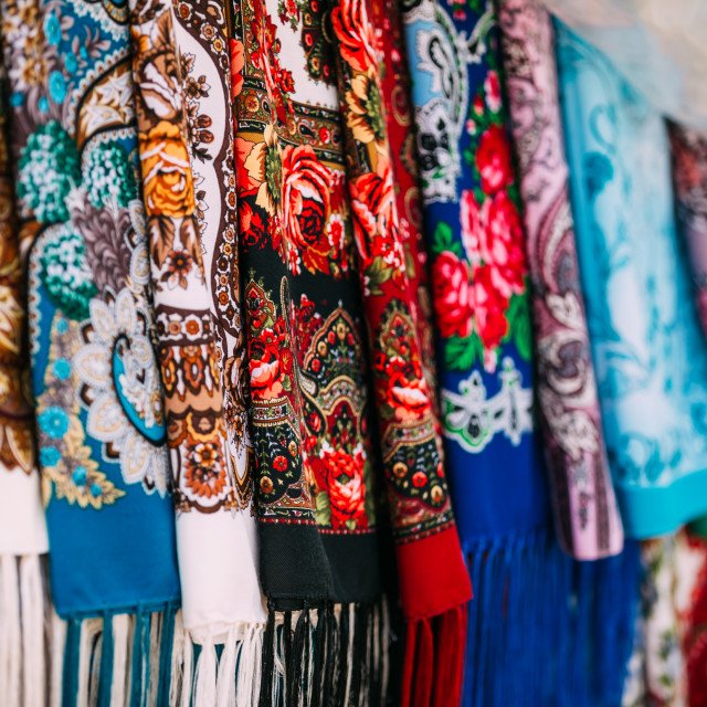 """Russian colorfull scarfs and headscarfs. Popular souvenir from Russia"" stock image"