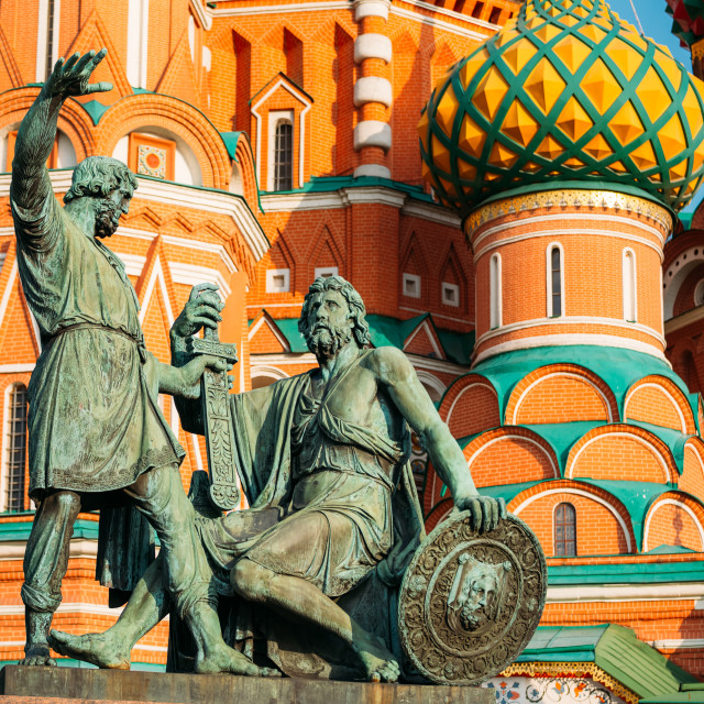 """Monument to Minin and Pozharsky in Red Square in Moscow, Russia."" stock image"