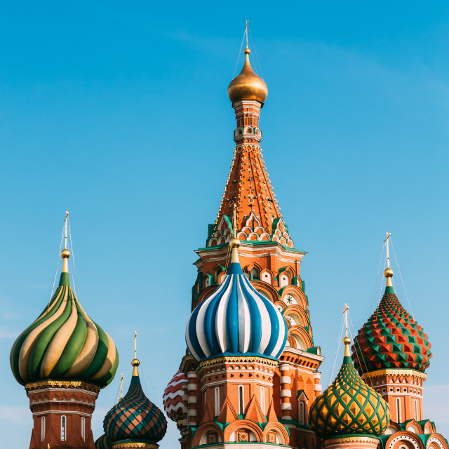 """The Saint Basil's Cathedral, is a famous church in Red Square in Moscow, Russia."" stock image"
