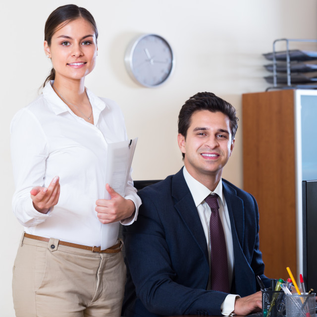 """""""business team smiling in office"""" stock image"""
