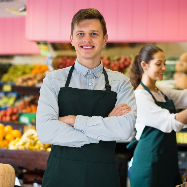 """""""workers selling fresh fruits"""" stock image"""