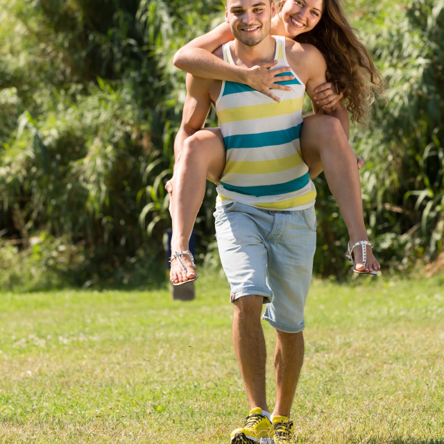 """Loving couple in the park"" stock image"
