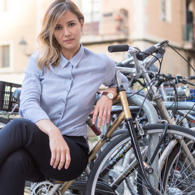 """Emma :: Elegant Beauty Amongst Bikes"" stock image"