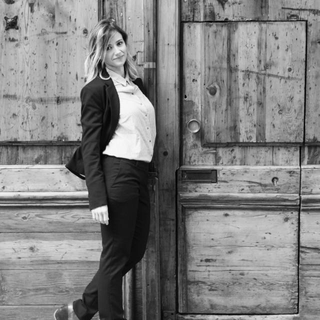 """""""Emma :: Elegant Beauty in Shirt & Jacket"""" stock image"""