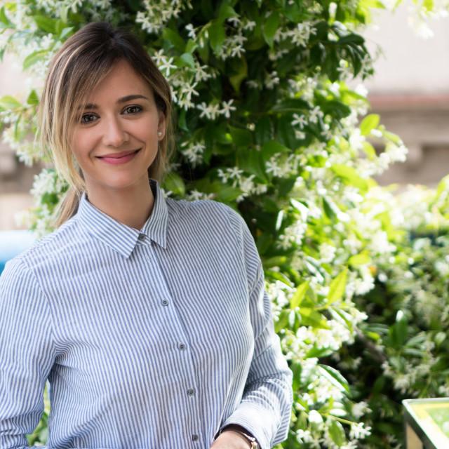 """Emma :: Elegant Beauty in Urban Oasis I"" stock image"