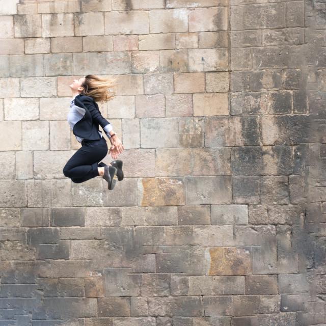 """Emma :: Jumping Elegant Beauty (with Shirt and Jacket)"" stock image"