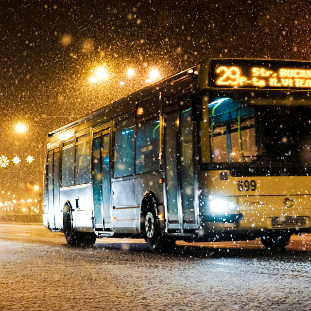 """Last Bus of the Day in Cluj, Romania"" stock image"