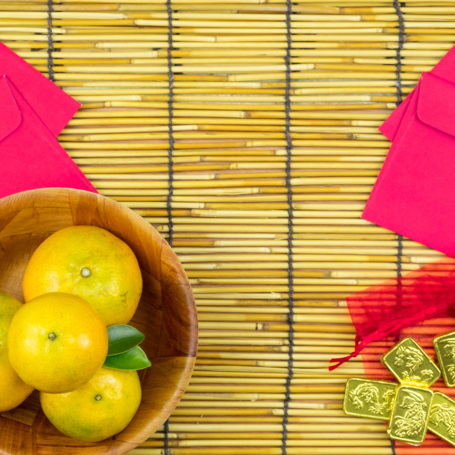 """Flat lay holiday of Chinese new year red packet and of accessori"" stock image"