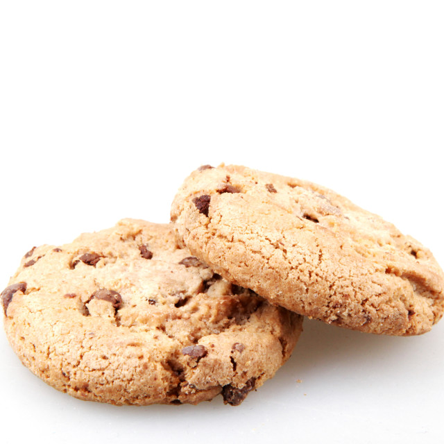 """""""Chocolate chip cookie isolated on white."""" stock image"""