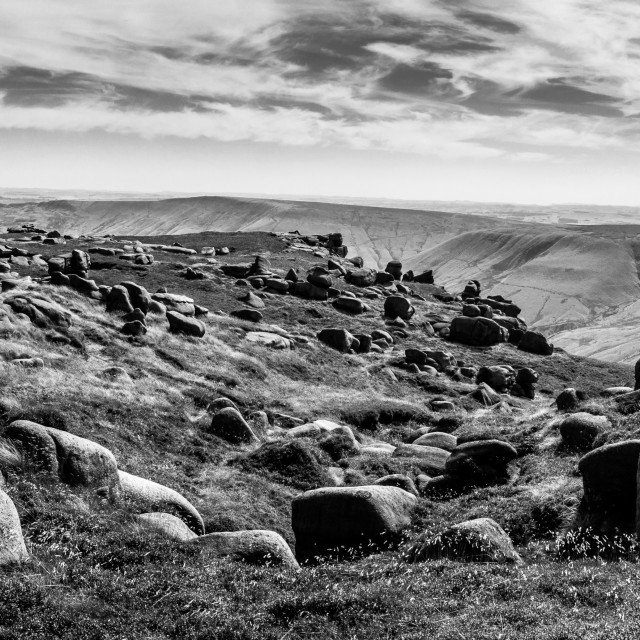 """Boulders on Kinder Scout, Derbyshire, England"" stock image"