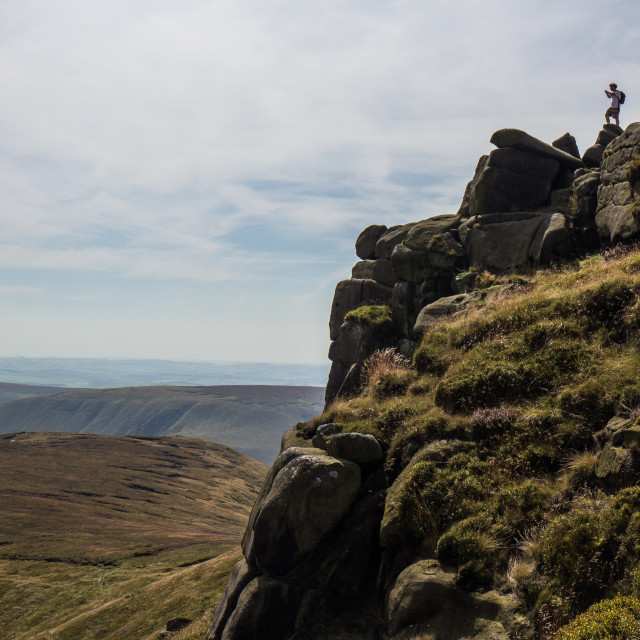 """Panoramic view from Kinder Scout, Derbyshire, England"" stock image"