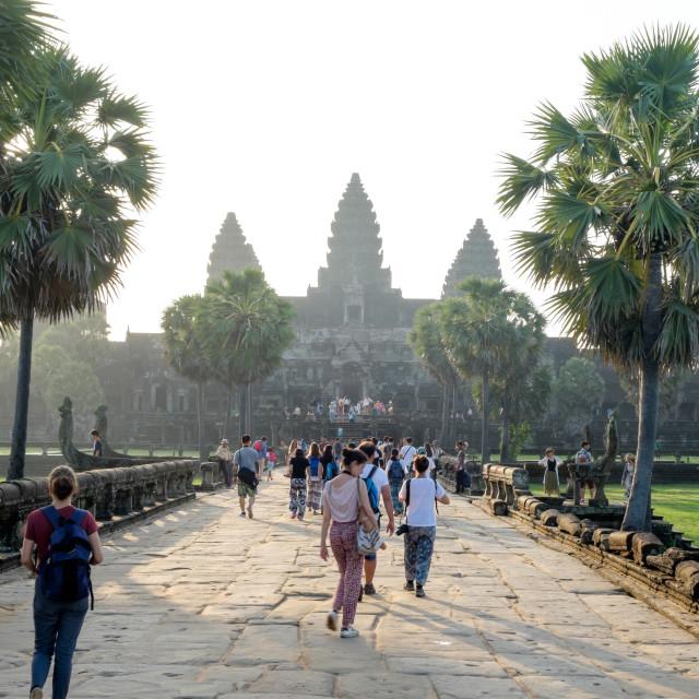 """""""Road to Angkor Wat"""" stock image"""