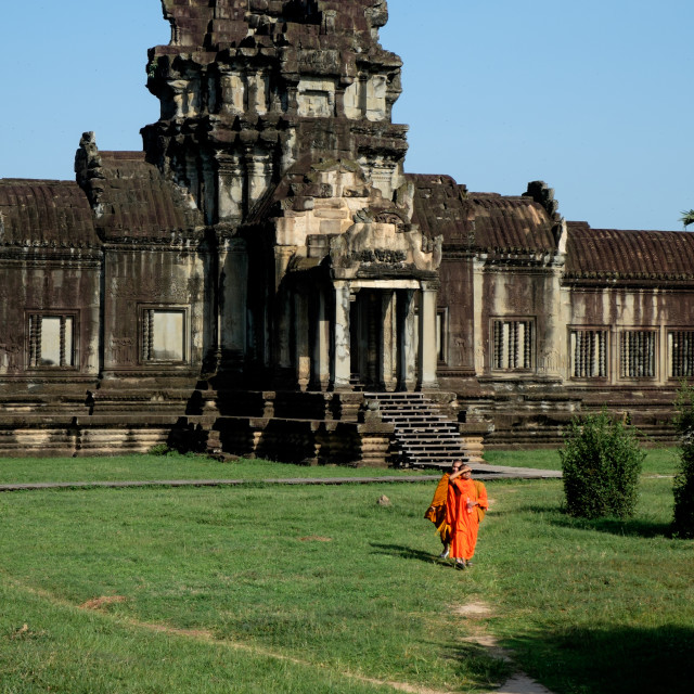 """""""Buddhists in Angkor Wat"""" stock image"""