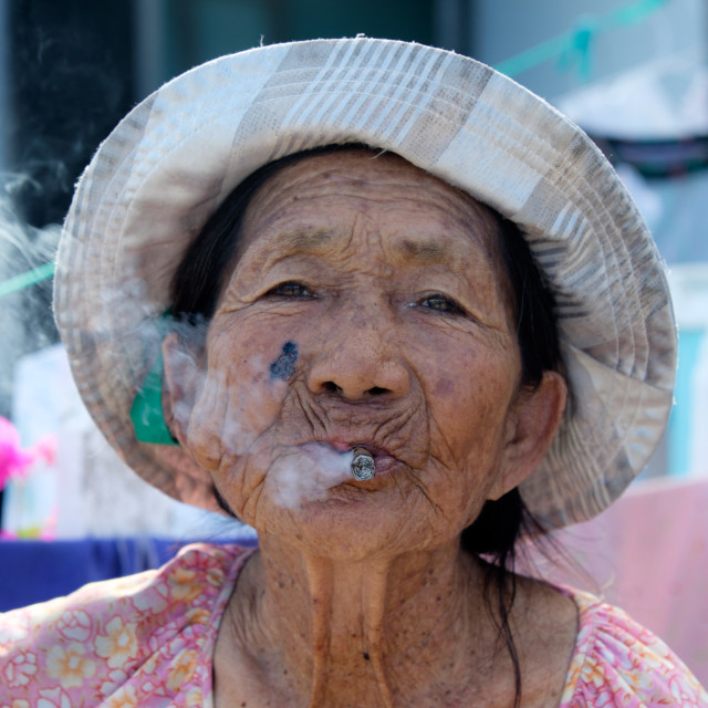 """Portrait of a Local in Hoi An"" stock image"