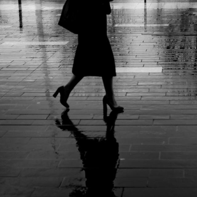 """Southbank London rain"" stock image"