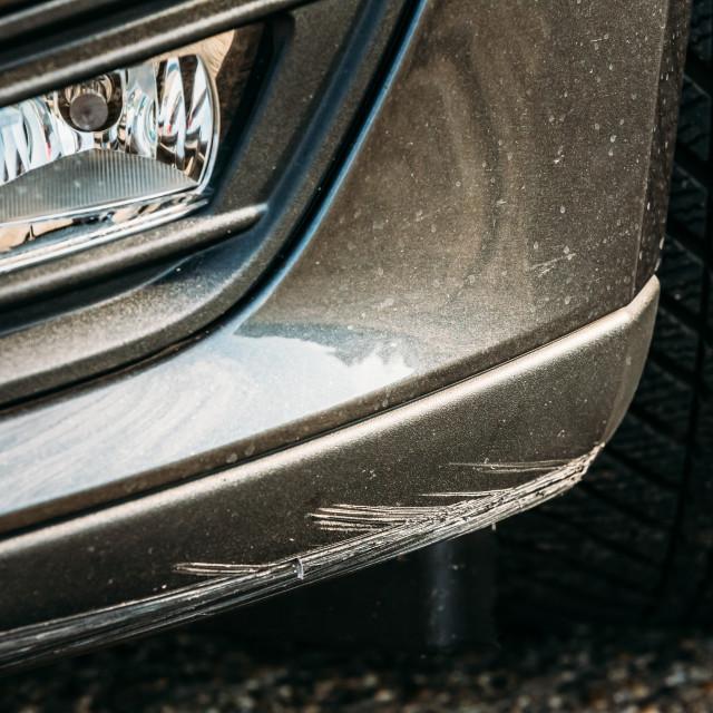 """Black Bumper Car Scratched, Deep Damage To Paint."" stock image"