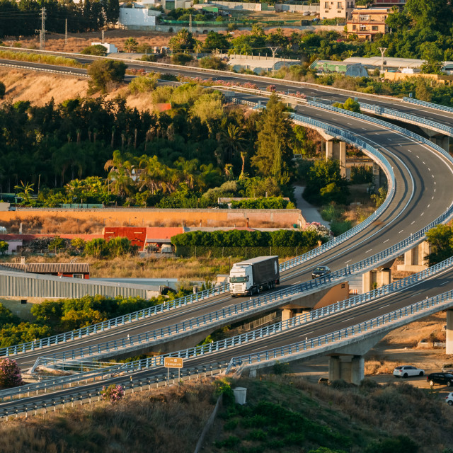 """Motion Cars On Highway Near Mijas In Spain, Europe. Sunset Sunrise Time"" stock image"