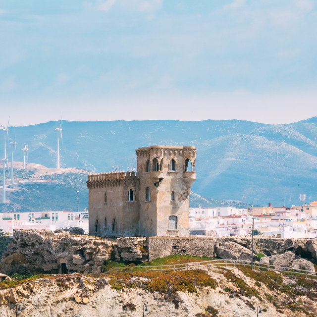 """""""Ancient medieval Castle Tower in Tarifa, Andalusia Spain."""" stock image"""