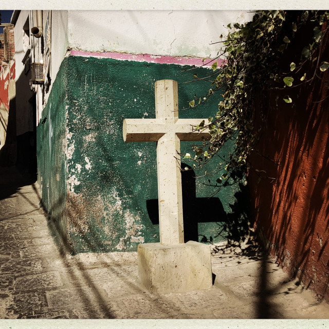 """Concrete Cross on the Calle"" stock image"