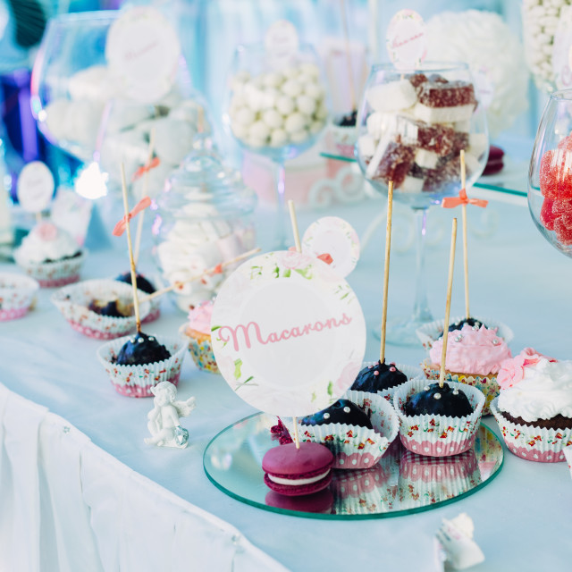 """Dessert Sweet Tasty Cupcake In Candy Bar On Table. Delicious Sweet Buffet"" stock image"