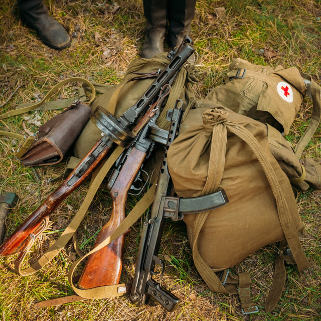 """Soviet russian military ammunition - submachine gun of World War II on ground"" stock image"