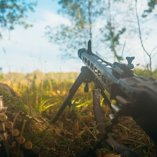 """German military ammunition - machine gun of World War II on ground"" stock image"