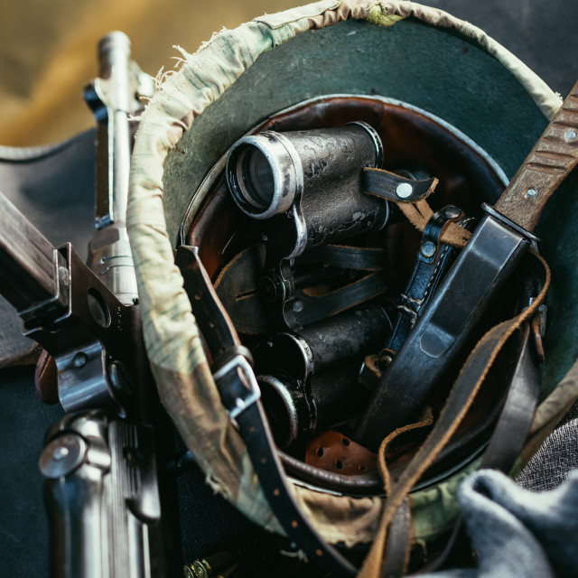 """German military ammunition of World War II. Helmet, binoculars, submachine..."" stock image"