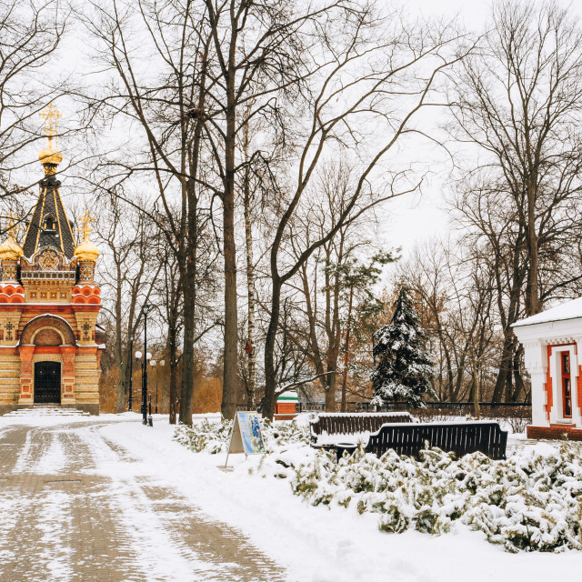 """Chapel-tomb of Paskevich and Vetka Museum of Old Believers and Belarusian..."" stock image"