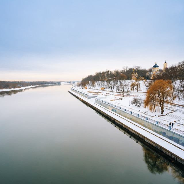 """""""Sozh river embankment near the Palace and Park Ensemble in Gomel, Belarus...."""" stock image"""