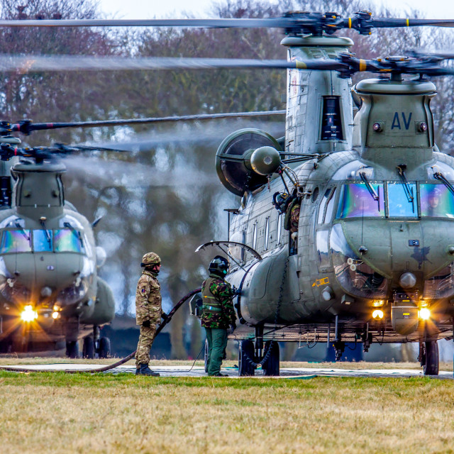 """Two Chinooks refuelling"" stock image"