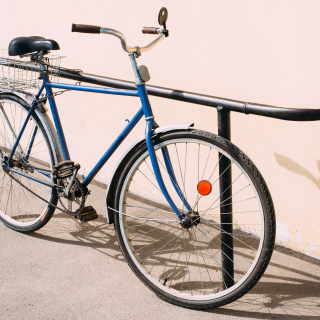 """Old Rarity Bicycle Parked Next To Wall"" stock image"
