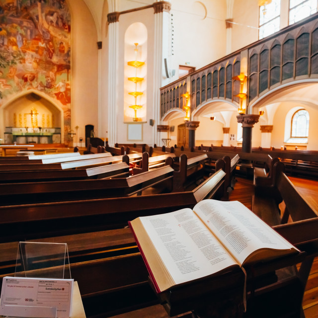 """Open Bible book in Sofia Kyrka Church in Stockholm, Sweden."" stock image"